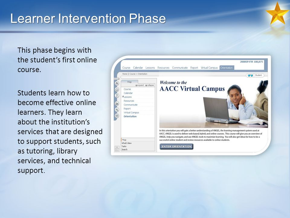Learner Intervention Phase This phase begins with the students first online course.