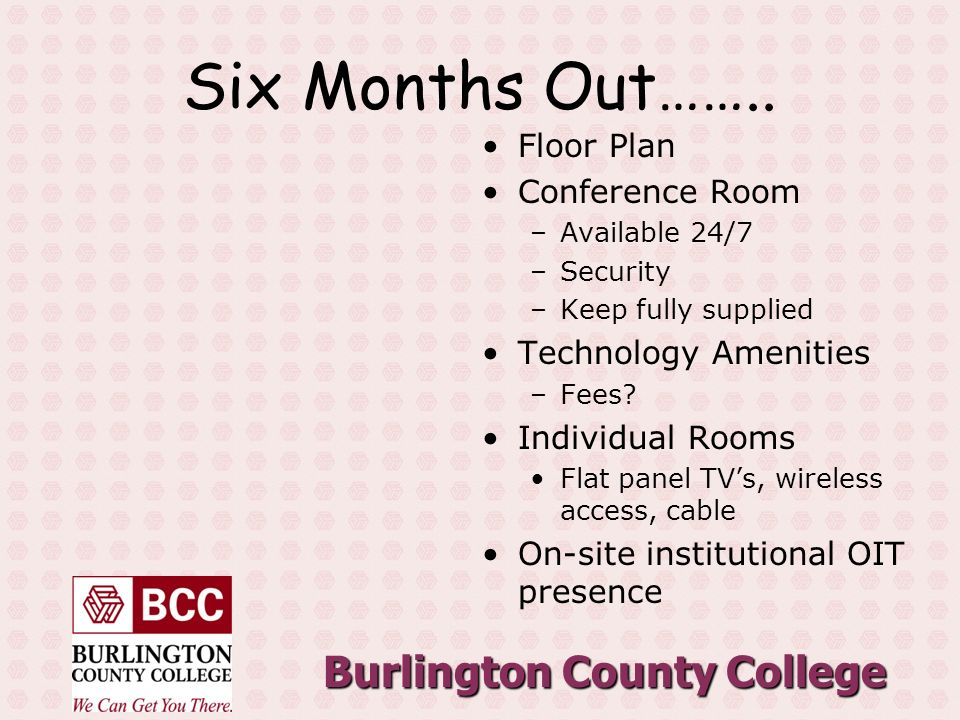 Burlington County College Six Months Out……..