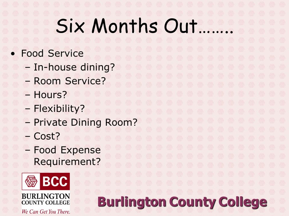 Burlington County College Six Months Out……..Food Service –In-house dining.