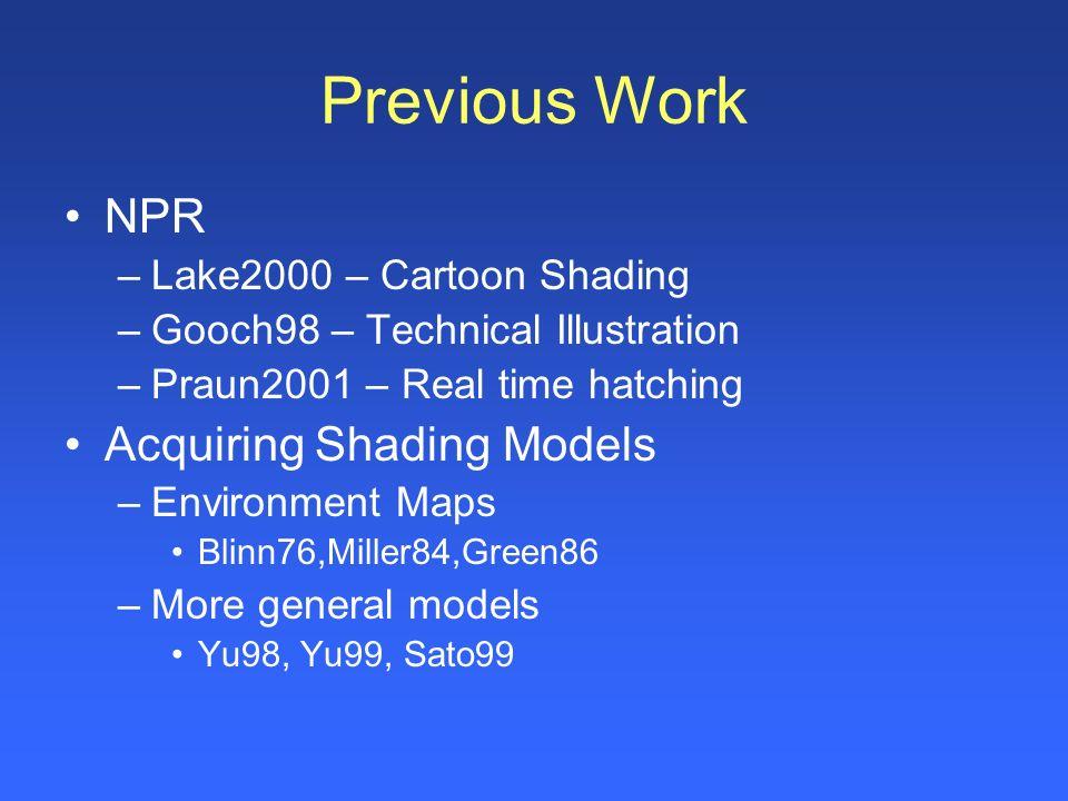 Previous Work NPR –Lake2000 – Cartoon Shading –Gooch98 – Technical Illustration –Praun2001 – Real time hatching Acquiring Shading Models –Environment