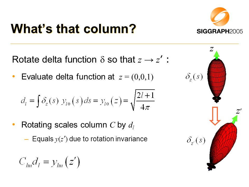 Whats that column? Rotate delta function so that z z : Evaluate delta function at z = (0,0,1) Rotating scales column C by d l – Equals y(z ) due to ro