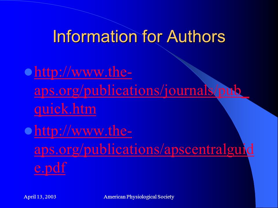 April 13, 2003American Physiological Society
