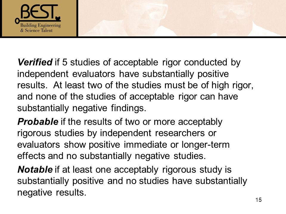 15 Verified if 5 studies of acceptable rigor conducted by independent evaluators have substantially positive results.