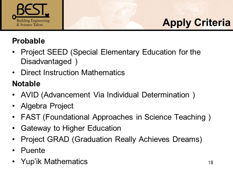 18 Apply Criteria Probable Project SEED (Special Elementary Education for the Disadvantaged ) Direct Instruction Mathematics Notable AVID (Advancement Via Individual Determination ) Algebra Project FAST (Foundational Approaches in Science Teaching ) Gateway to Higher Education Project GRAD (Graduation Really Achieves Dreams) Puente Yupik Mathematics