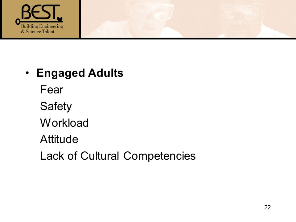 22 Engaged Adults Fear Safety Workload Attitude Lack of Cultural Competencies