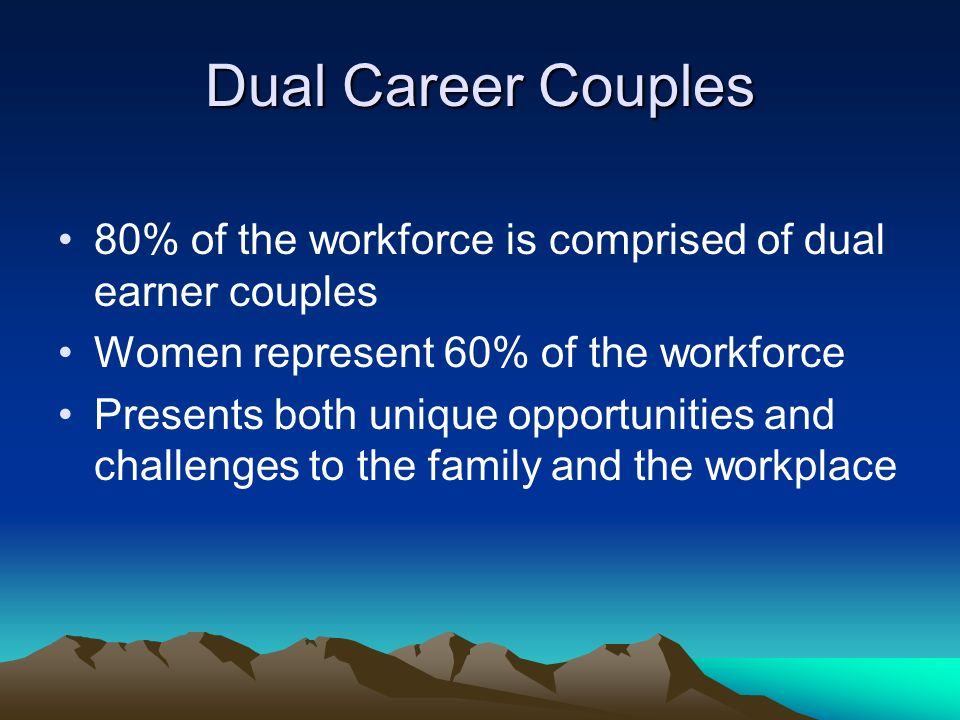 Dual Career Couples 80% of the workforce is comprised of dual earner couples Women represent 60% of the workforce Presents both unique opportunities and challenges to the family and the workplace