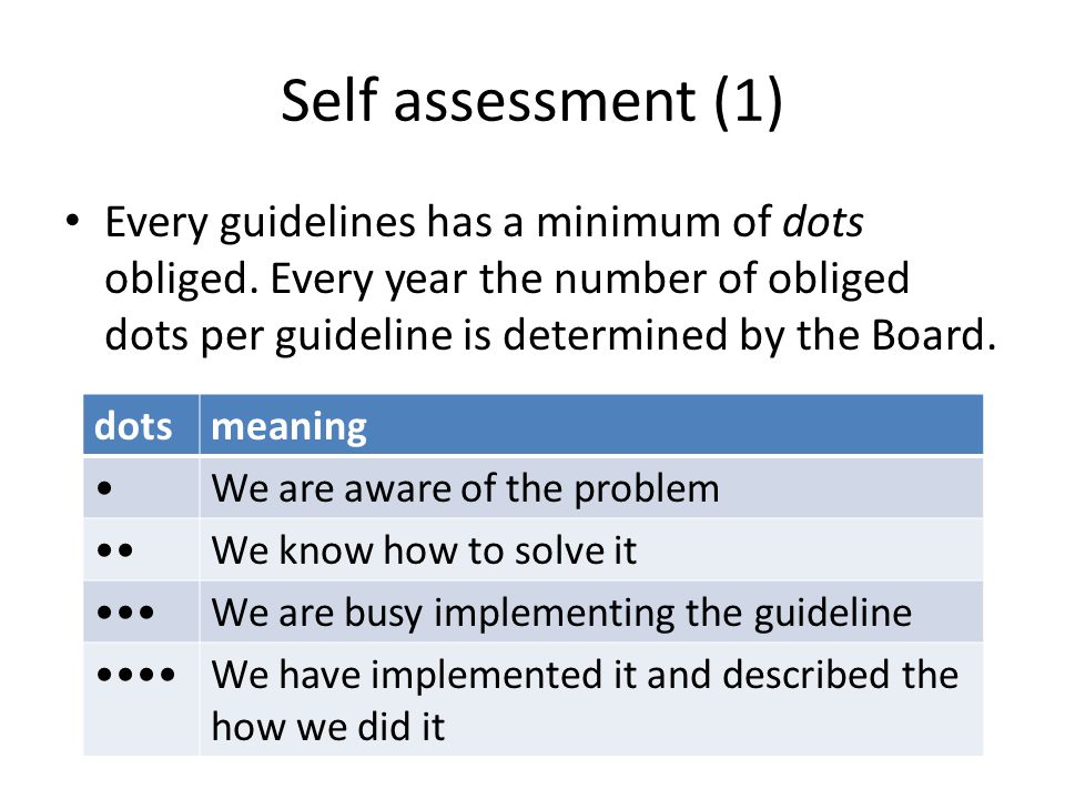 Self assessment (2) Every guideline comes with a series of attention points Follow the attention points and tell your story Allocate your dots