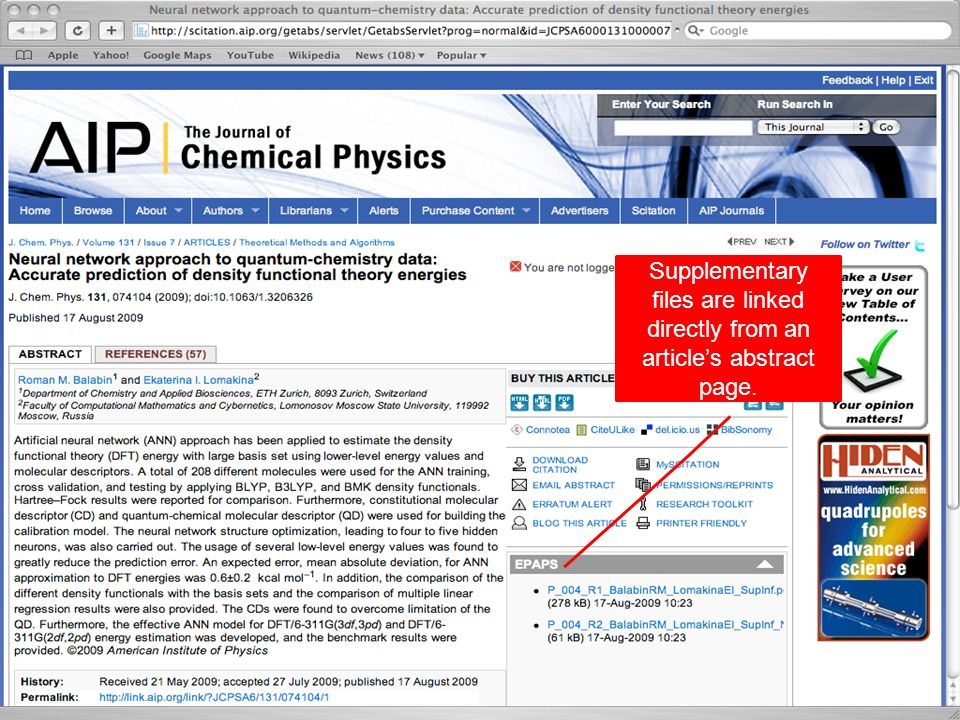 9 Supplementary files are referenced within the article text and linked via the articles abstract page using the doi.