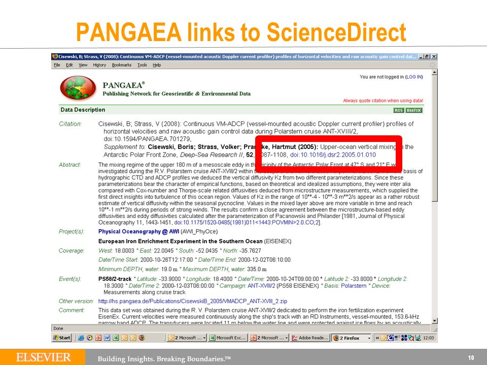 PANGAEA links to ScienceDirect 10
