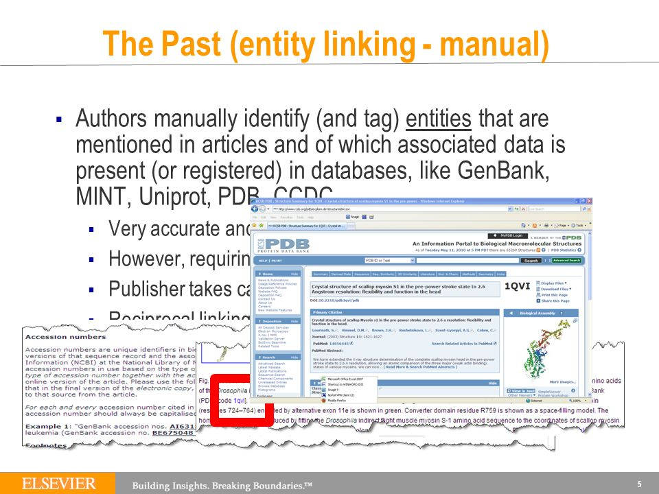 The Past (entity linking - manual) Authors manually identify (and tag) entities that are mentioned in articles and of which associated data is present (or registered) in databases, like GenBank, MINT, Uniprot, PDB, CCDC,...