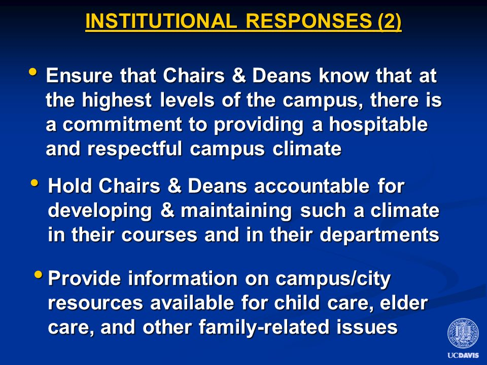 INSTITUTIONAL RESPONSES (2) Hold Chairs & Deans accountable for developing & maintaining such a climate in their courses and in their departments Hold