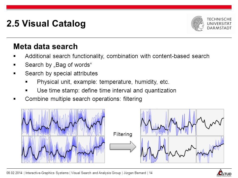 2.5 Visual Catalog Meta data search Additional search functionality, combination with content-based search Search by Bag of words Search by special attributes Physical unit, example: temperature, humidity, etc.