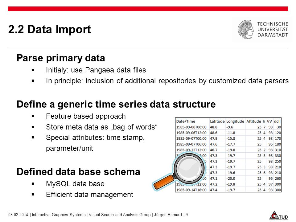 2.2 Data Import Parse primary data Initialy: use Pangaea data files In principle: inclusion of additional repositories by customized data parsers Define a generic time series data structure Feature based approach Store meta data as bag of words Special attributes: time stamp, parameter/unit Defined data base schema MySQL data base Efficient data management | Interactive-Graphics Systems | Visual Search and Analysis Group | Jürgen Bernard | 9