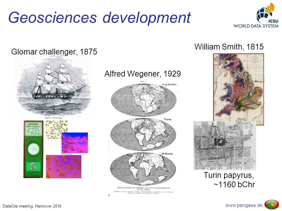 www.pangaea.de DataCite meeting, Hannover 2010 Geosciences development Turin papyrus, ~1160 bChr William Smith, 1815 Glomar challenger, 1875 Alfred Wegener, 1929