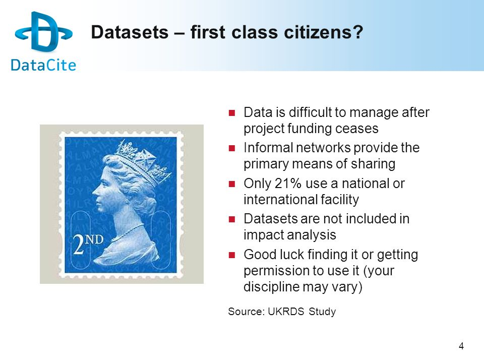 4 Datasets – first class citizens? Data is difficult to manage after project funding ceases Informal networks provide the primary means of sharing Onl