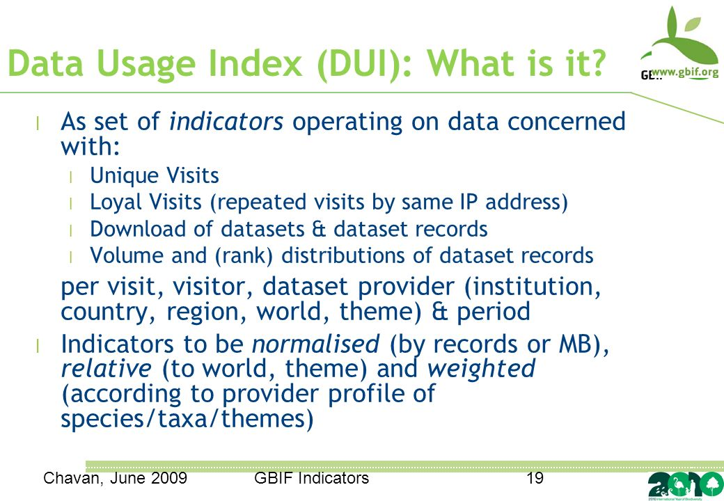 GBIF Indicators19 Data Usage Index (DUI): What is it.