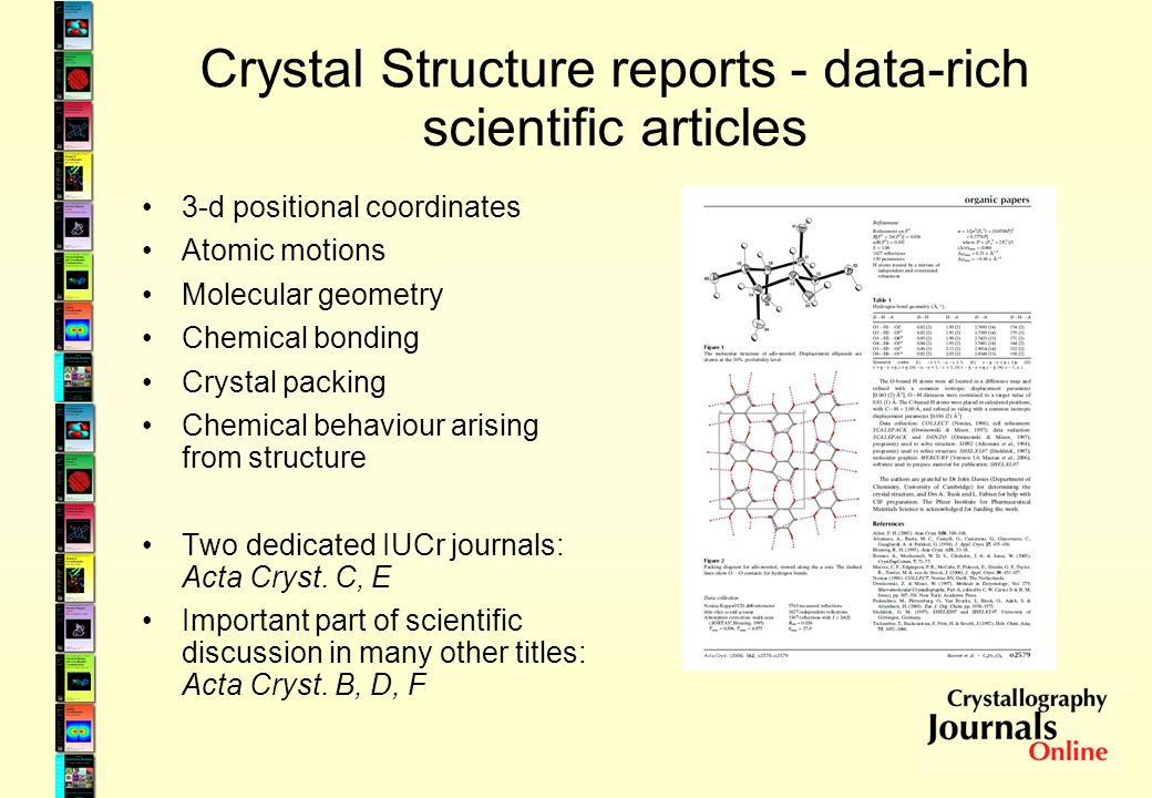 Crystal Structure reports - data-rich scientific articles 3-d positional coordinates Atomic motions Molecular geometry Chemical bonding Crystal packin