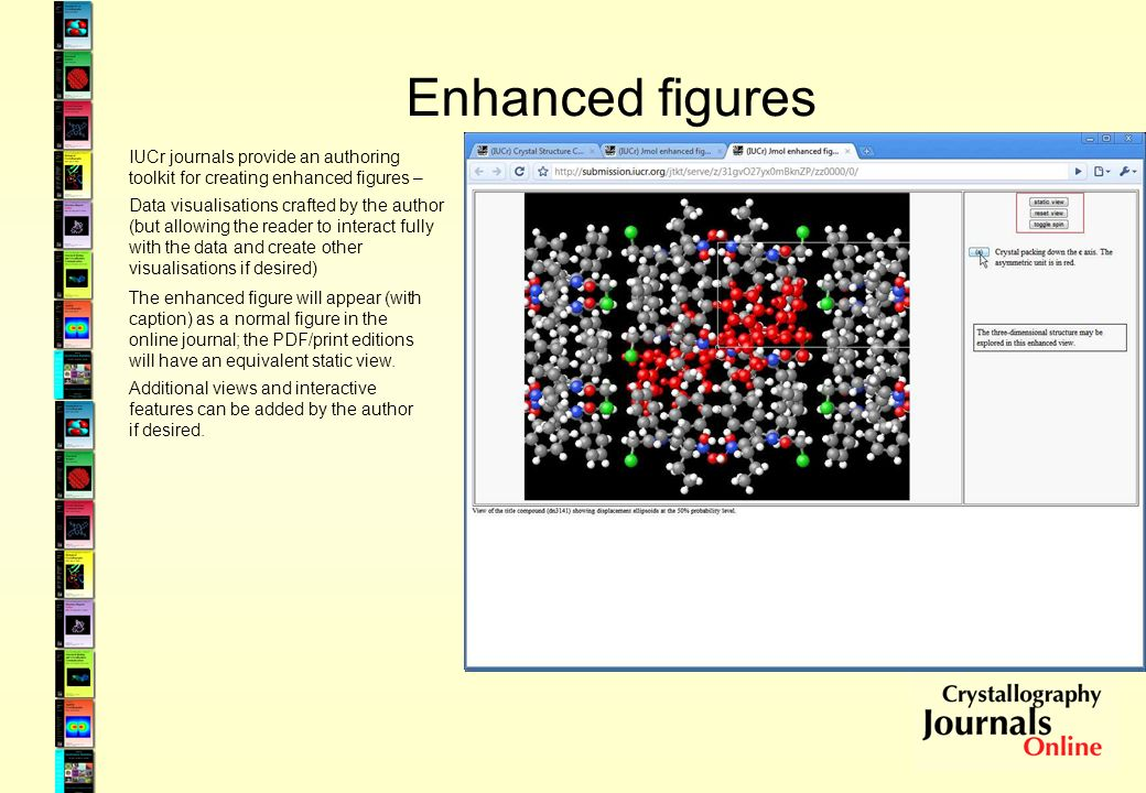 Enhanced figures IUCr journals provide an authoring toolkit for creating enhanced figures – Data visualisations crafted by the author (but allowing th