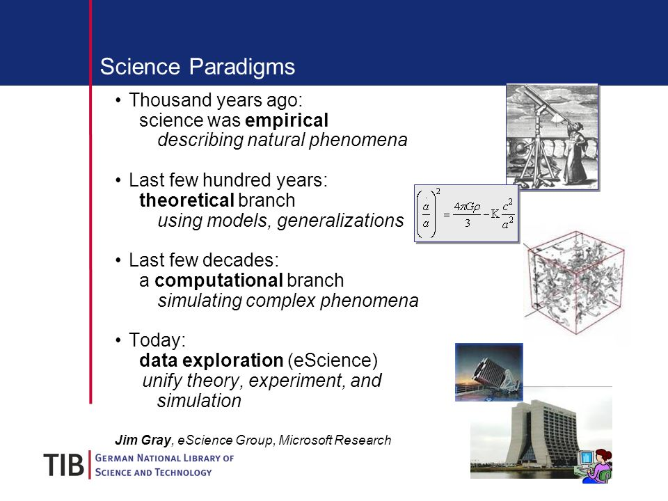 Science Paradigms Thousand years ago: science was empirical describing natural phenomena Last few hundred years: theoretical branch using models, generalizations Last few decades: a computational branch simulating complex phenomena Today: data exploration (eScience) unify theory, experiment, and simulation Jim Gray, eScience Group, Microsoft Research