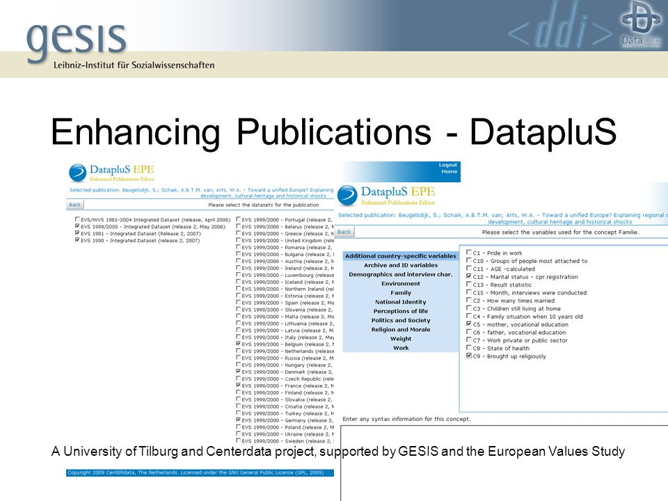 Enhancing Publications - DatapluS A University of Tilburg and Centerdata project, supported by GESIS and the European Values Study
