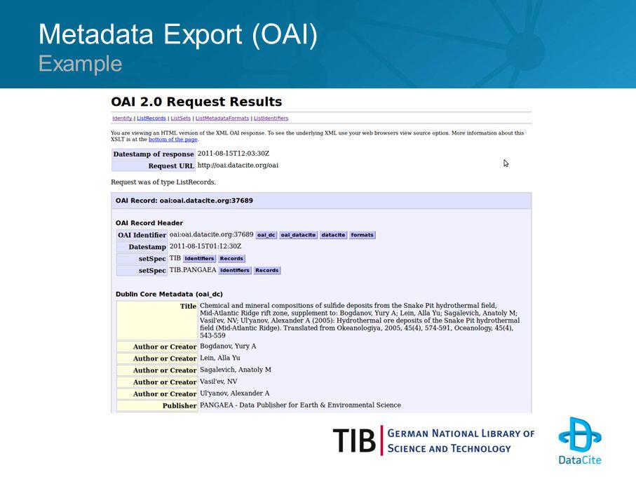 Metadata Export (OAI) Example
