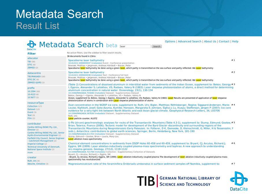 Metadata Search Result List