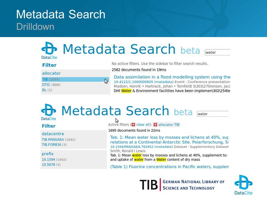 Metadata Search Drilldown