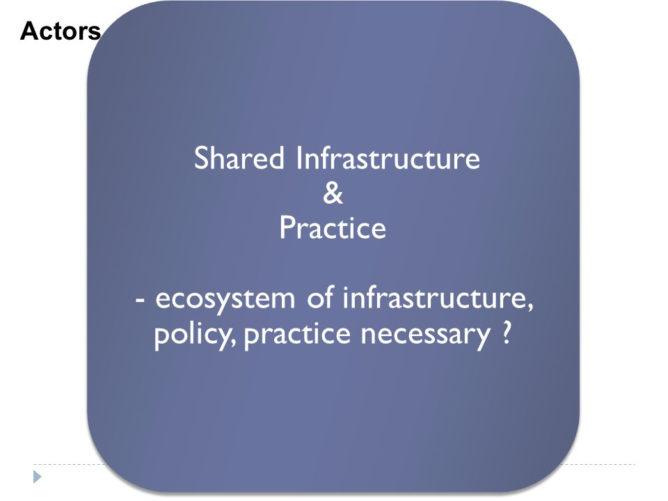 Shared Infrastructure & Practice - ecosystem of infrastructure, policy, practice necessary Actors