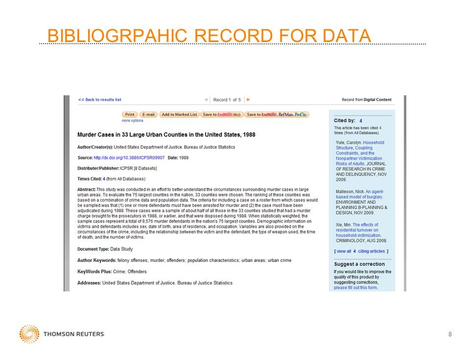 BIBLIOGRPAHIC RECORD FOR DATA 8