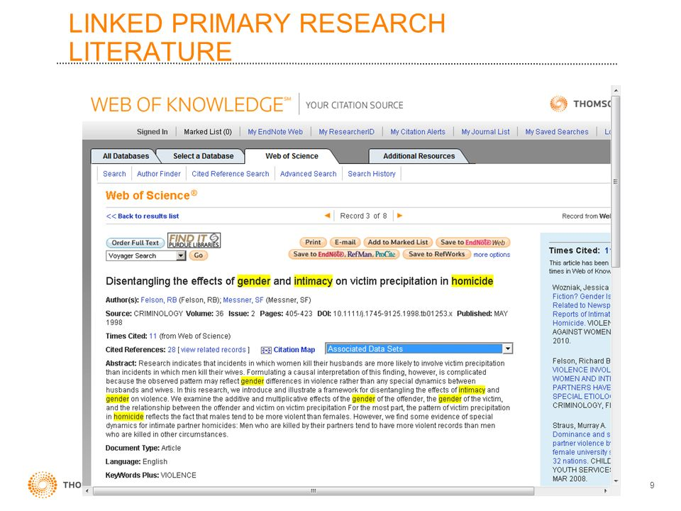 LINKED PRIMARY RESEARCH LITERATURE 9