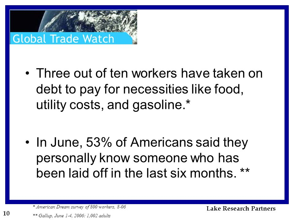 10 * American Dream survey of 800 workers, 8-06 ** Gallup, June 1-4, 2006: 1,002 adults Three out of ten workers have taken on debt to pay for necessities like food, utility costs, and gasoline.* In June, 53% of Americans said they personally know someone who has been laid off in the last six months.