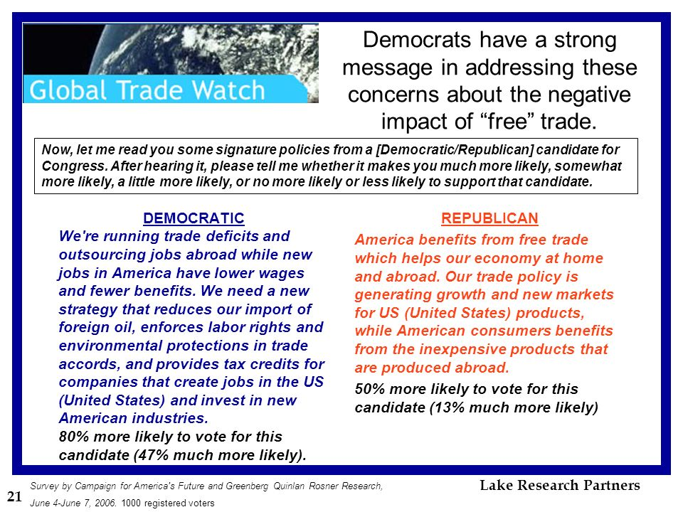 21 Democrats have a strong message in addressing these concerns about the negative impact of free trade.