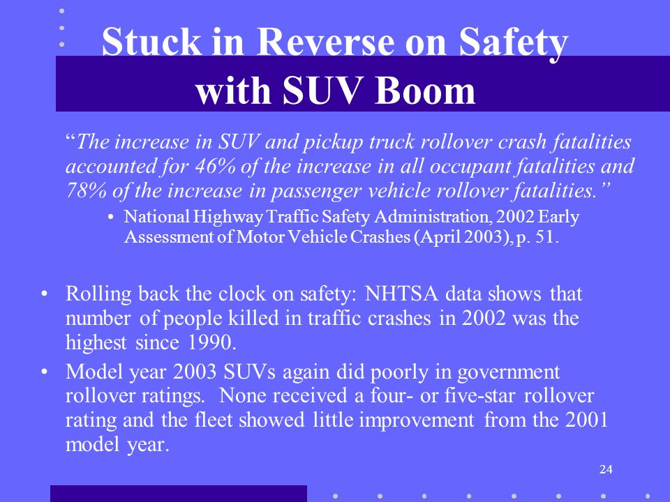 24 Stuck in Reverse on Safety with SUV Boom The increase in SUV and pickup truck rollover crash fatalities accounted for 46% of the increase in all occupant fatalities and 78% of the increase in passenger vehicle rollover fatalities.