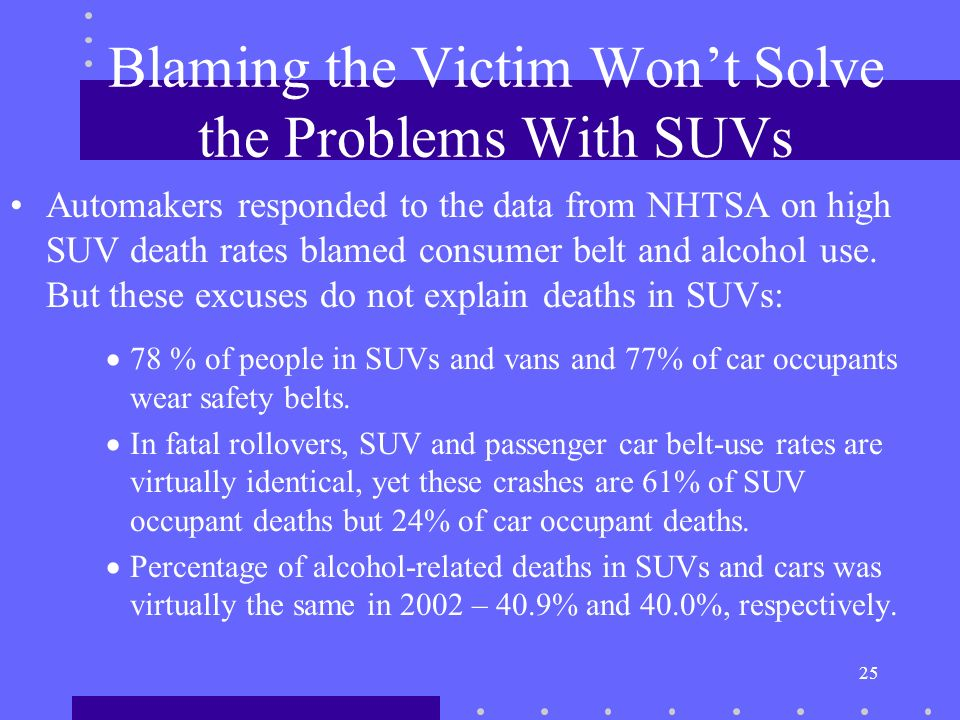 25 Blaming the Victim Wont Solve the Problems With SUVs Automakers responded to the data from NHTSA on high SUV death rates blamed consumer belt and alcohol use.