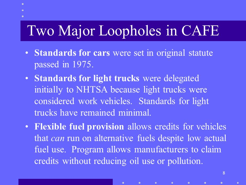8 Two Major Loopholes in CAFE Standards for cars were set in original statute passed in 1975.