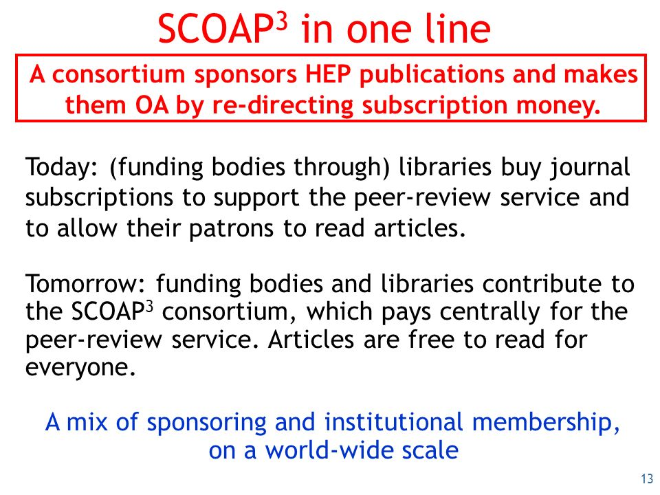 13 SCOAP 3 in one line A consortium sponsors HEP publications and makes them OA by re-directing subscription money.