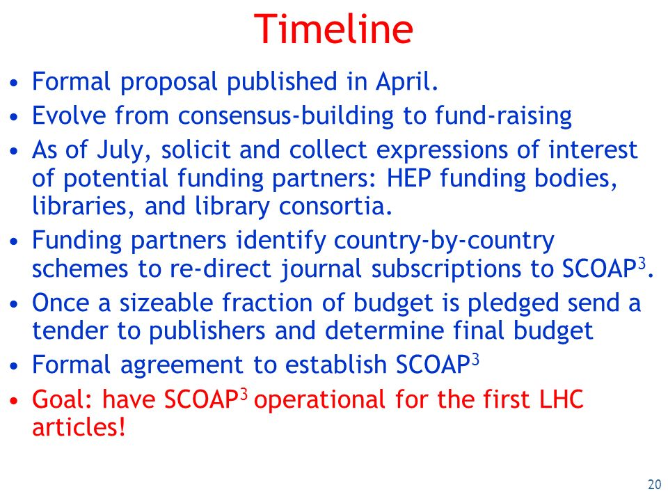 20 Timeline Formal proposal published in April.