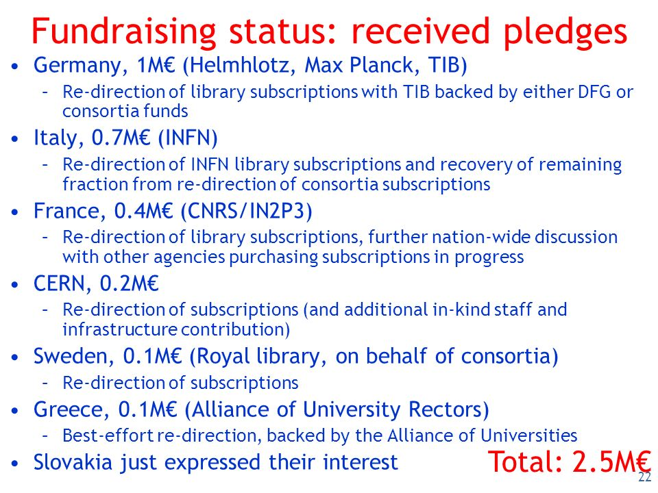 22 Fundraising status: received pledges Germany, 1M (Helmhlotz, Max Planck, TIB) –Re-direction of library subscriptions with TIB backed by either DFG or consortia funds Italy, 0.7M (INFN) –Re-direction of INFN library subscriptions and recovery of remaining fraction from re-direction of consortia subscriptions France, 0.4M (CNRS/IN2P3) –Re-direction of library subscriptions, further nation-wide discussion with other agencies purchasing subscriptions in progress CERN, 0.2M –Re-direction of subscriptions (and additional in-kind staff and infrastructure contribution) Sweden, 0.1M (Royal library, on behalf of consortia) –Re-direction of subscriptions Greece, 0.1M (Alliance of University Rectors) –Best-effort re-direction, backed by the Alliance of Universities Slovakia just expressed their interest Total: 2.5M