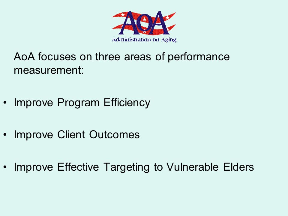 AoA focuses on three areas of performance measurement: Improve Program Efficiency Improve Client Outcomes Improve Effective Targeting to Vulnerable El