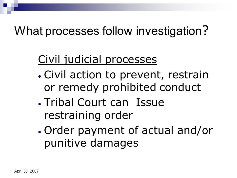 April 30, 2007 What processes follow investigation .