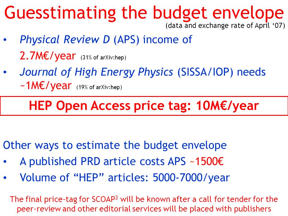 Guesstimating the budget envelope Physical Review D (APS) income of 2.7M/year (31% of arXiv:hep) Journal of High Energy Physics (SISSA/IOP) needs ~1M/
