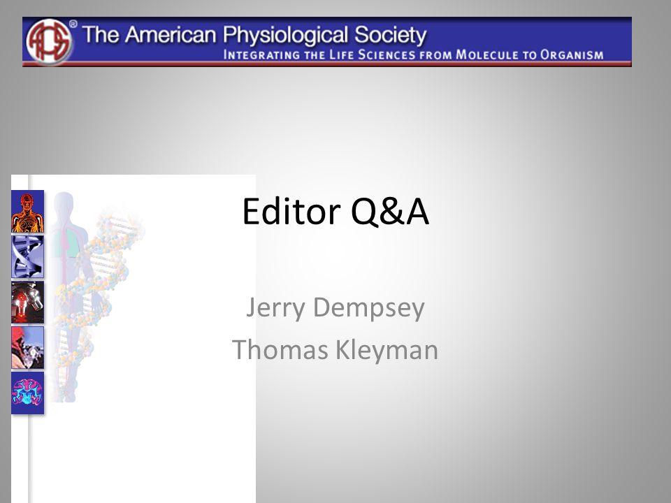 Editor Q&A Jerry Dempsey Thomas Kleyman