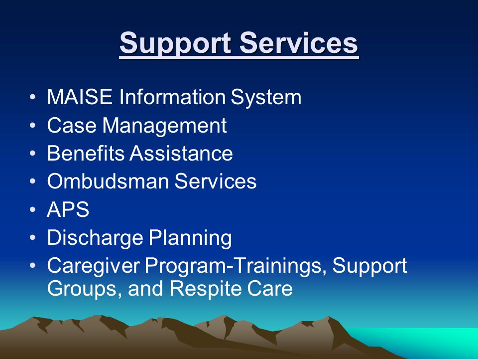 Support Services MAISE Information System Case Management Benefits Assistance Ombudsman Services APS Discharge Planning Caregiver Program-Trainings, S