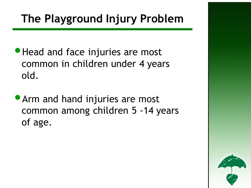 Head and face injuries are most common in children under 4 years old.