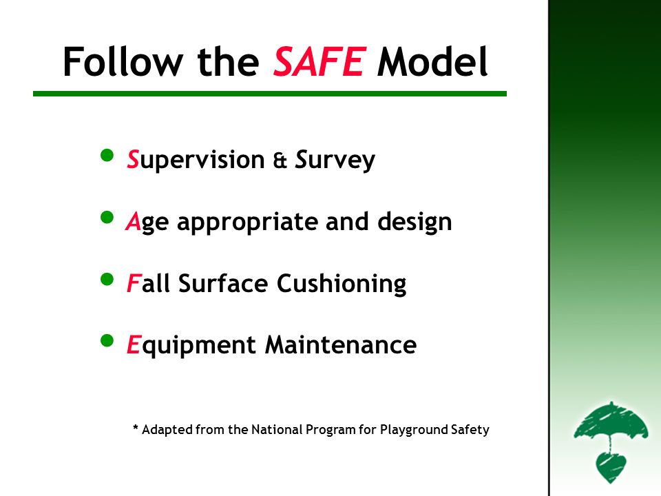 Supervision & Survey Age appropriate and design Fall Surface Cushioning Equipment Maintenance * Adapted from the National Program for Playground Safety Follow the SAFE Model