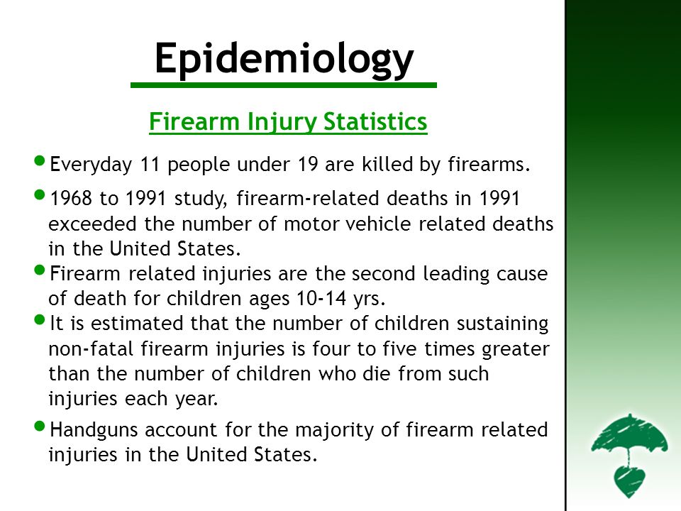 Epidemiology Everyday 11 people under 19 are killed by firearms.