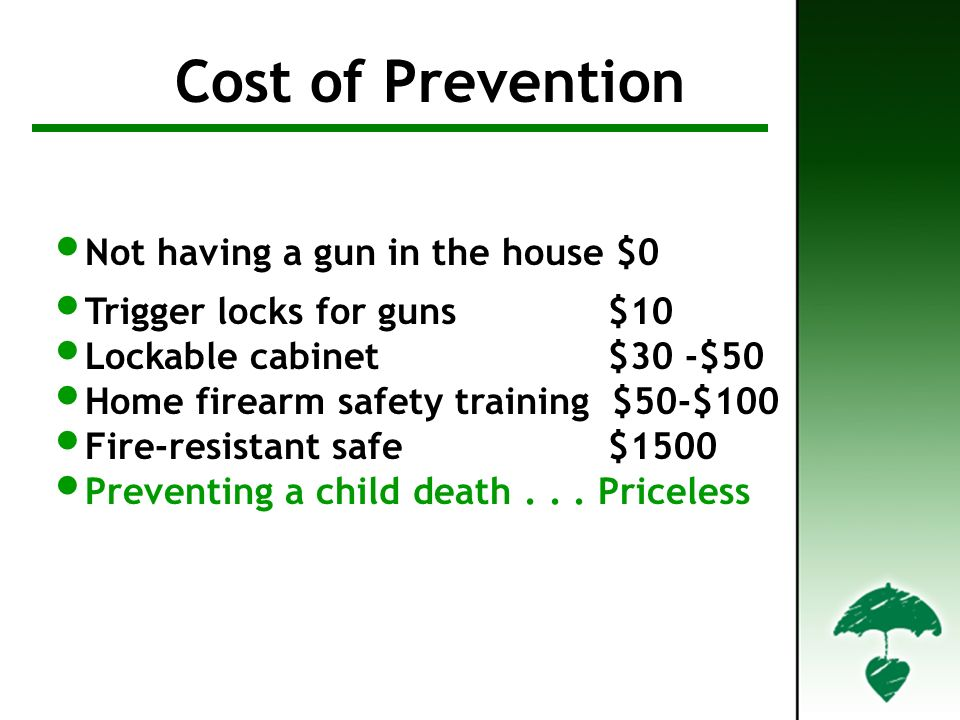 Cost of Prevention Not having a gun in the house $0 Trigger locks for guns $10 Lockable cabinet $30 -$50 Home firearm safety training $50-$100 Fire-resistant safe $1500 Preventing a child death...