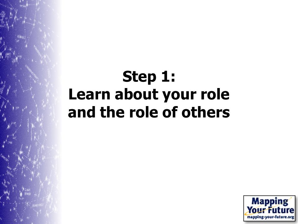 Step 1: Learn about your role and the role of others