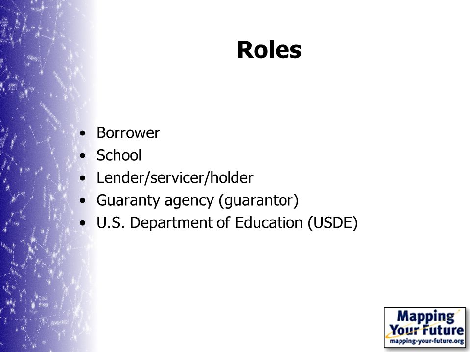 Roles Borrower School Lender/servicer/holder Guaranty agency (guarantor) U.S.