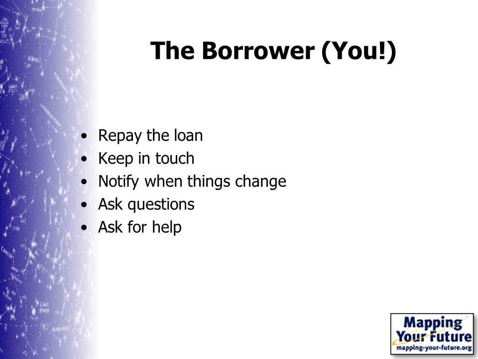 The Borrower (You!) Repay the loan Keep in touch Notify when things change Ask questions Ask for help